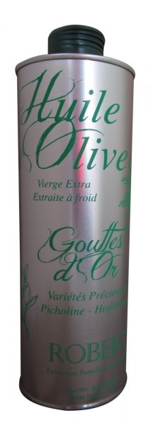 Huile d'olive gouttes d'or